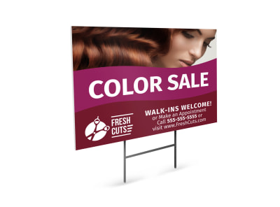 Hair Salon Color Sale Yard Sign Template preview