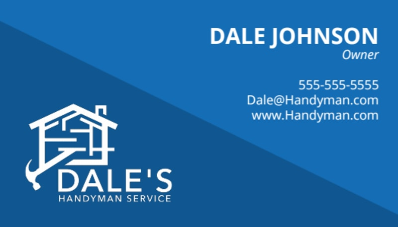 Blue Handyman Business Card Template Preview 2