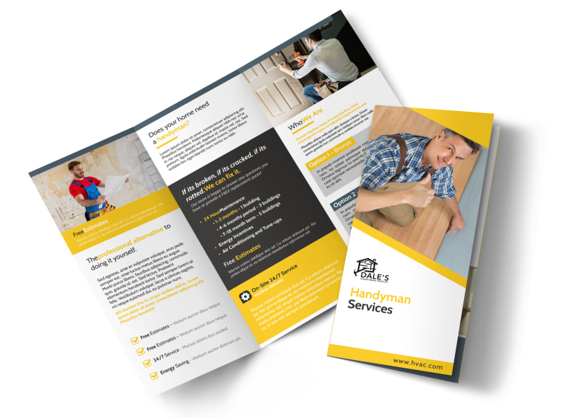 Handyman Services Tri-Fold Brochure Template Preview 4