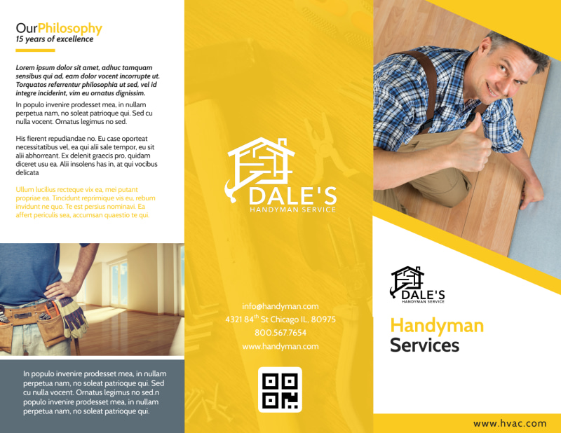 Handyman Services Tri-Fold Brochure Template Preview 2
