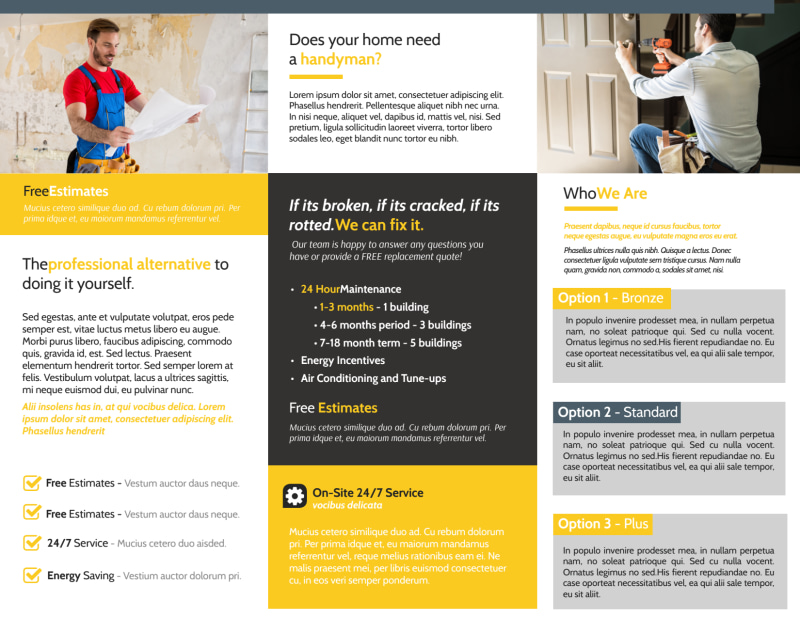 Handyman Services Tri-Fold Brochure Template Preview 3