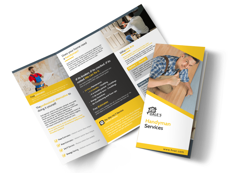Handyman Services Tri-Fold Brochure Template Preview 1