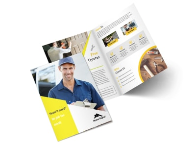 Fix It Handyman Bi-Fold Brochure Template preview