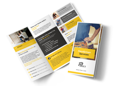 Yellow Handyman Tri-Fold Brochure Template preview
