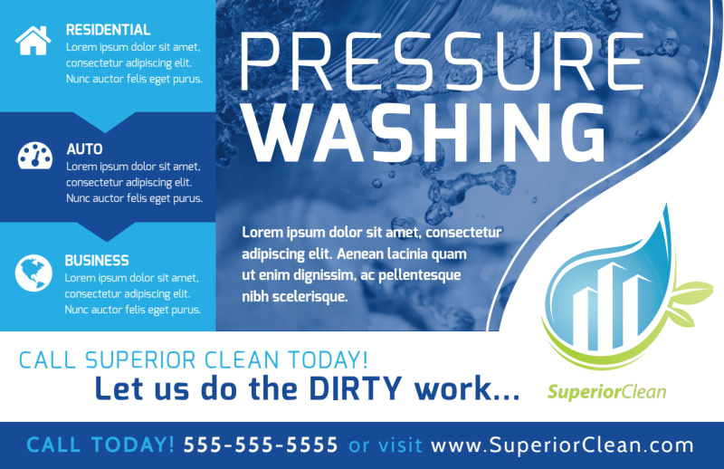 Cool Pressure Washing Postcard Template Preview 2