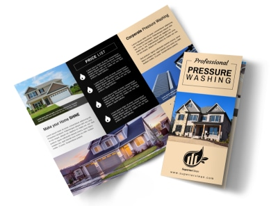 Pro Pressure Washing Tri-Fold Brochure Template preview