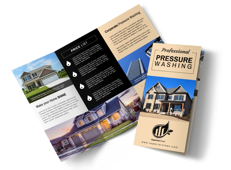 Pro Pressure Washing Tri-Fold Brochure Template Preview 4