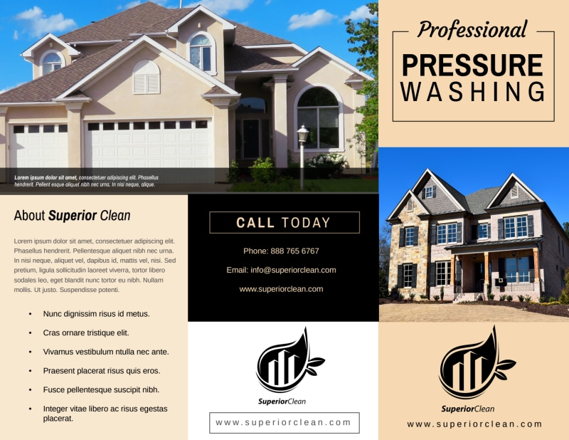 Pro Pressure Washing Tri-Fold Brochure Template Preview 2