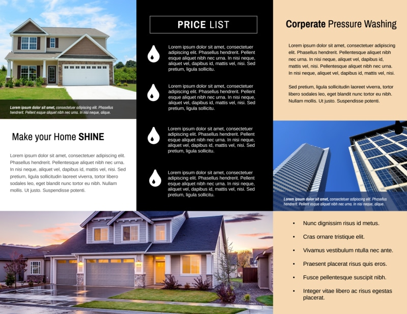 Pro Pressure Washing Tri-Fold Brochure Template Preview 3