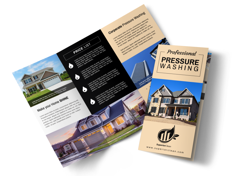 Pro Pressure Washing Tri-Fold Brochure Template Preview 1