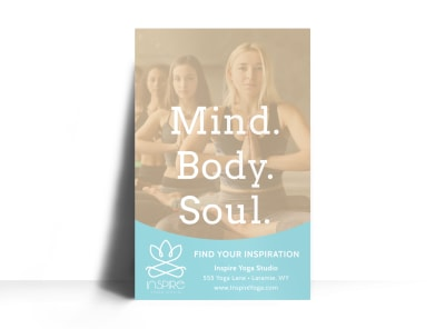 Mind Body Soul Yoga Poster Template preview