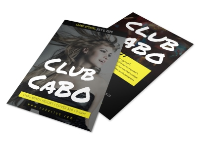 Black & Yellow Nightclub Flyer Template preview