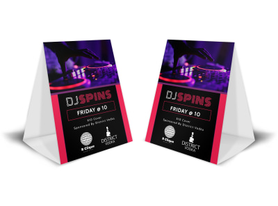 Nightclub DJ Table Tent Template preview