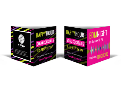 Nightclub Happy Hour Table Tent Template preview