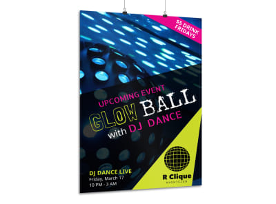 Glow Ball Nightclub Poster Template preview