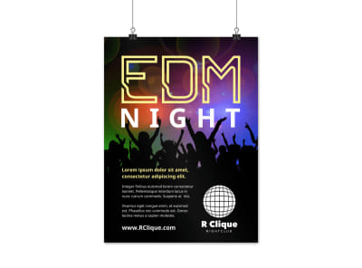 EDM Nightclub Poster Template preview