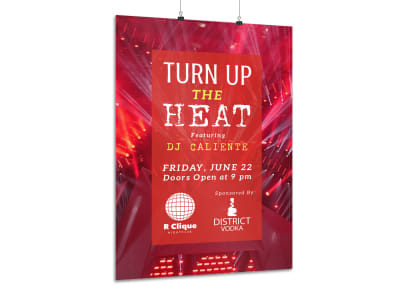 Nightclub Heat Poster Template preview