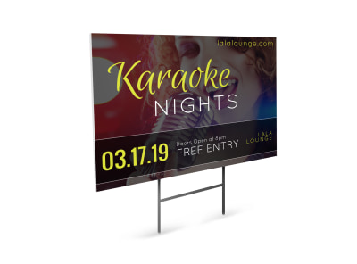 Karaoke Night Yard Sign Template preview