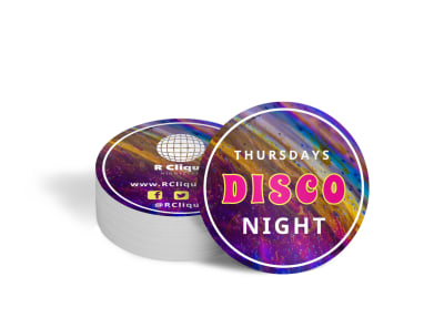 Nightclub Disco Coaster Template preview