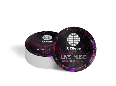 Nightclub Live Music Coaster Template preview