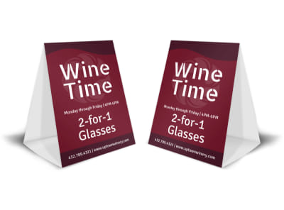 Wine Time Table Tent Template preview