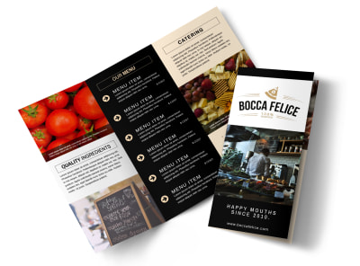 Beautiful Restaurant Tri-Fold Brochure Template preview