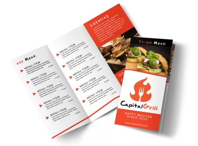 Restaurant To-Go Menu Tri-Fold Brochure Template