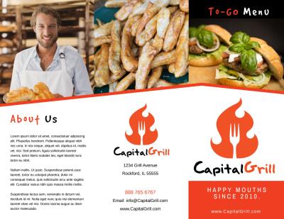 Restaurant To-Go Menu Tri-Fold Brochure Template Preview 1