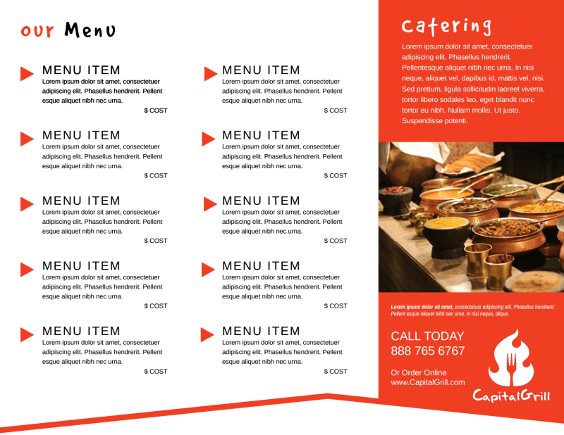 Restaurant To-Go Menu Tri-Fold Brochure Template Preview 3