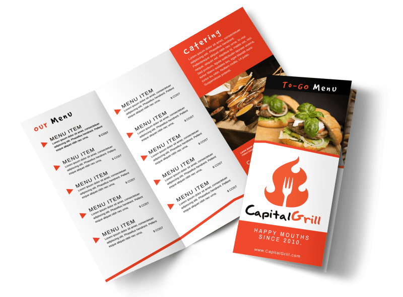 Restaurant To-Go Menu Tri-Fold Brochure Template Preview 1