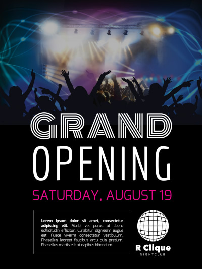 Club Grand Opening Poster Template Preview 1