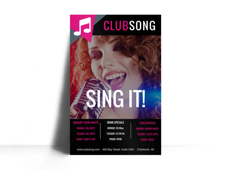 Club Sing It Poster Template Preview 3