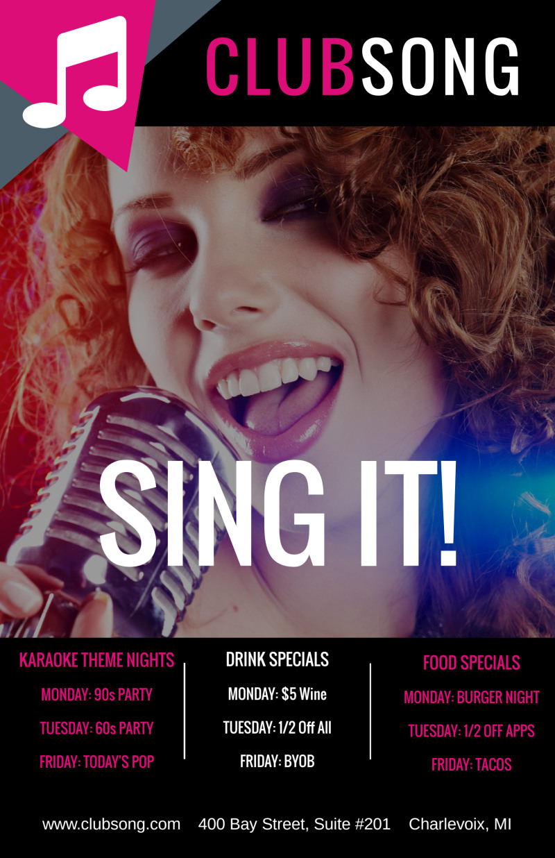 Club Sing It Poster Template Preview 2