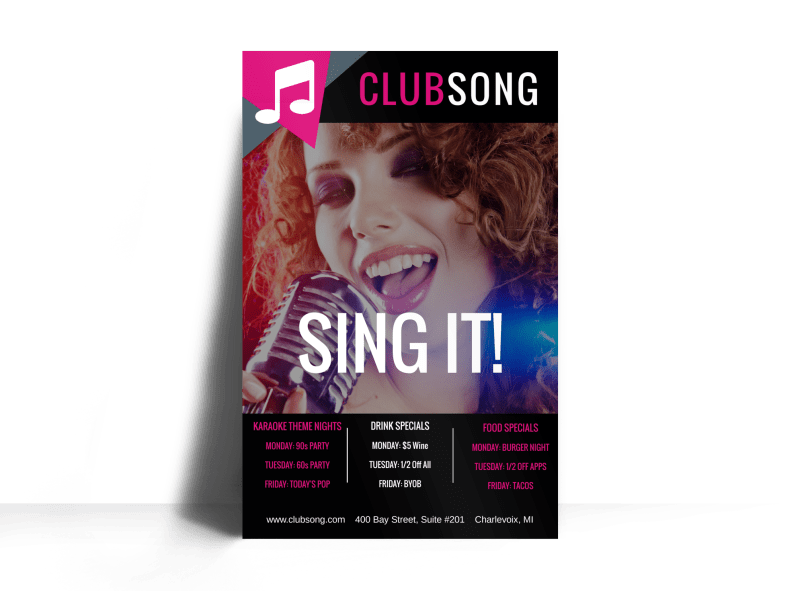 Club Sing It Poster Template Preview 1
