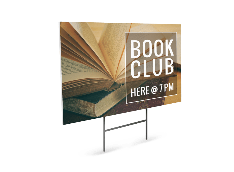 Book Club Yard Sign Template Preview 1