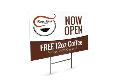 Now Open Coffee Shop Yard Sign Template preview