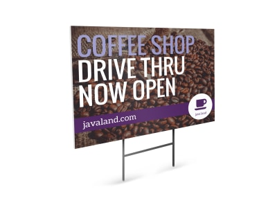 Coffee Shop Drive Thru Open Yard Sign Template preview