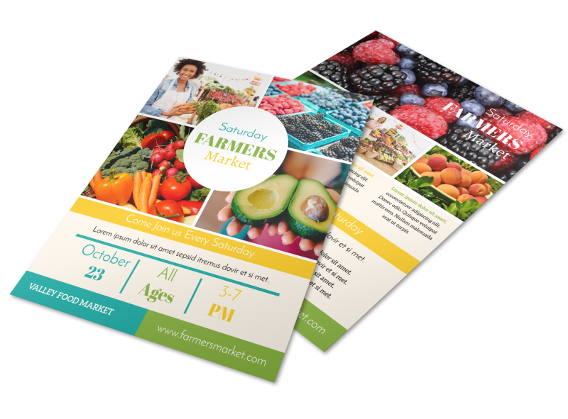 Colorful Farmers Market Flyer Template Preview 1