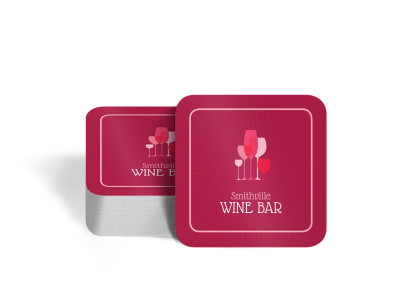 Pink Wine Coaster Template preview