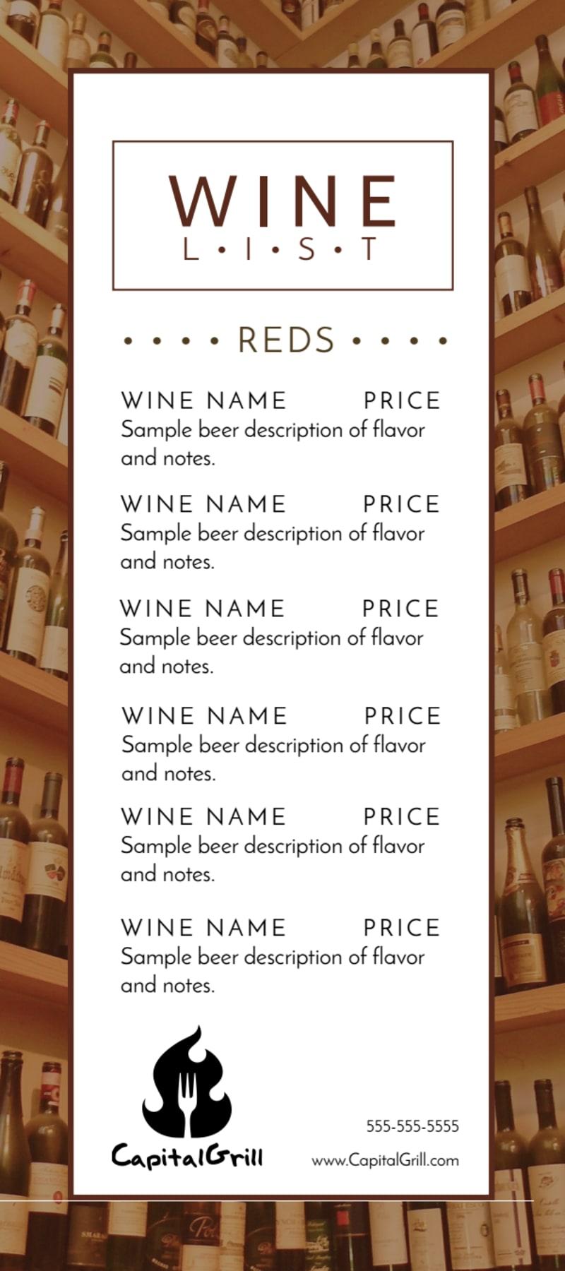 Classic Wine List Menu Template Preview 2