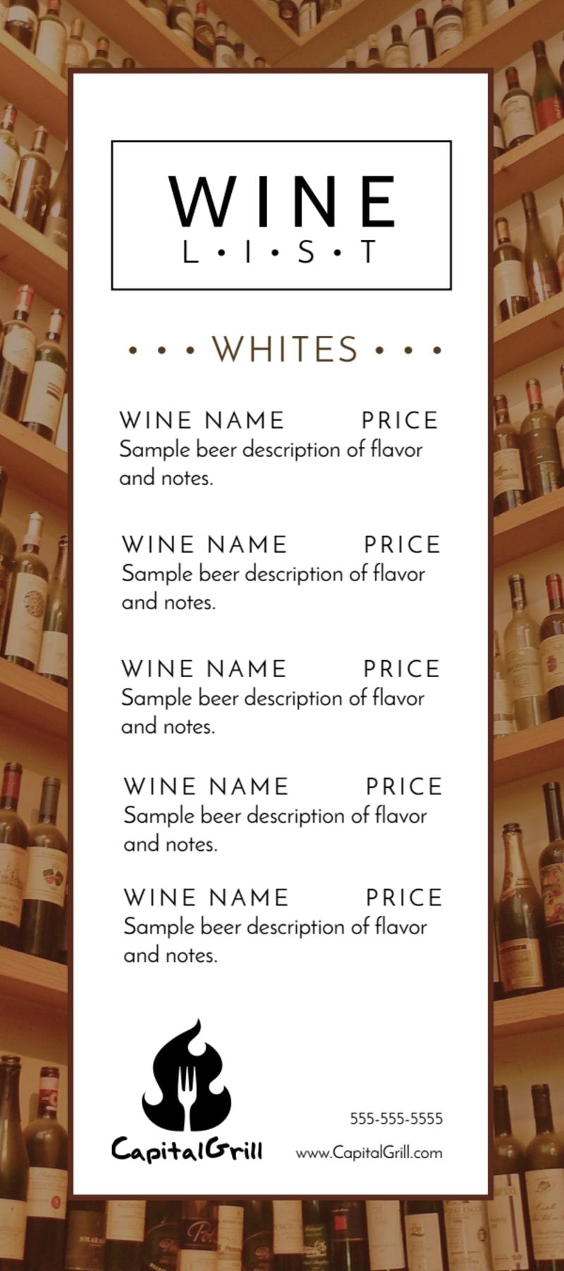 Classic Wine List Menu Template Preview 3