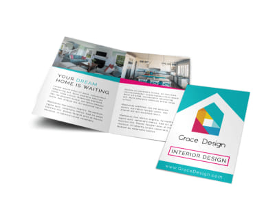 Simple Interior Design Bi-Fold Brochure Template preview
