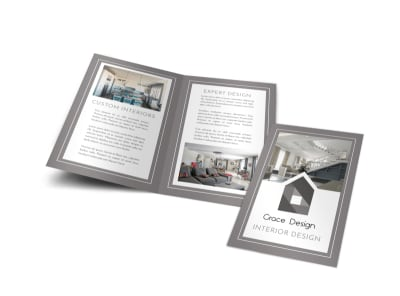 Gray Interior Design Bi-Fold Brochure Template preview