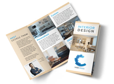 Simple Interior Design Tri-Fold Brochure Template preview