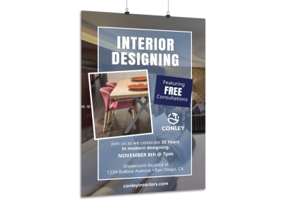 Interior Design Consultation Poster Template preview