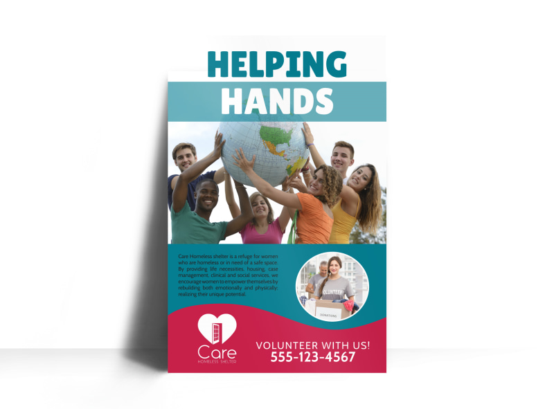 helping hands charity poster template mycreativeshop