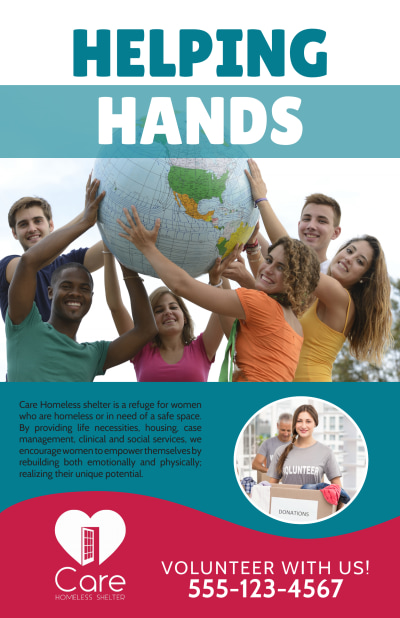 Helping Hands Charity Poster Template Preview 1