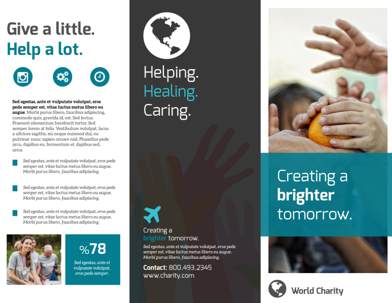 Bright Future Charity Tri-Fold Brochure Template Preview 2