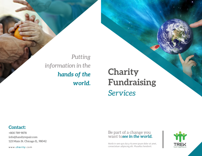 Charity Fundraising Bi-Fold Brochure Template Preview 2
