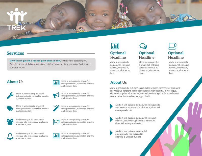 Charity Fundraising Bi-Fold Brochure Template Preview 3